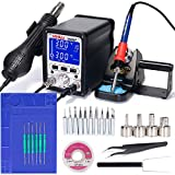 YIHUA 995D+ Professional Soldering & Rework Station bundle with the13.86' x 9.96' M160 Electronic Repair Mat (assistive hand tools included) with Holder, Cleaning Kit, and Accessories (30 Items)
