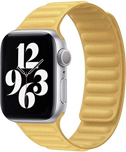 Fengyiyuda Kompatibel mit Apple Watch Armband 38mm 40mm 42mm 44mm,stark magnetisch verstellbarem Lederarmband mit flexibel geformten Magneten für die iWatch Serie SE/6/5/4/3/2/1(42/44mm Gelb)