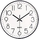 Foxtop Reloj de pared negro silencioso con números arábigos y números arábigos redondo decorativo para sala de estar, dormitorio, cocina, oficina (25 cm)