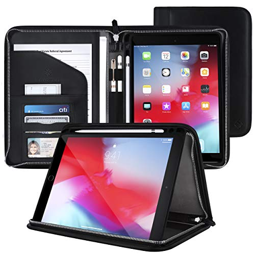 rooCASE Wilshire Case - iPad 10.2 2019 Executive Portfolio Case - Magnetic Detachable iPad Case, Organizer, Apple Pencil Holder for iPad 7th Generation 10.2-inch 2019, Black