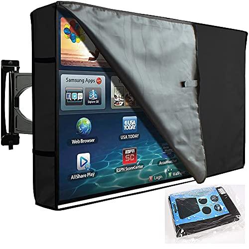 BOSKING Cubierta de TV para exteriores de 22 a 70 pulgadas con protector de pantalla frontal transparente, resistente al agua, a prueba de polvo, para televisores de plasma LED LCD (55-58'')
