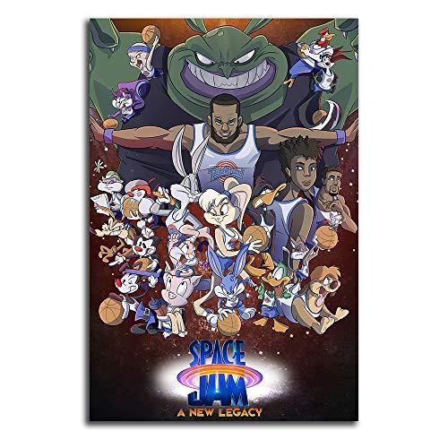 Trelemek Space Jam A New Legacy 2 Lienzo decorativo para pared de 50,8 x 76,2 cm, diseño de baloncesto James para decoración de habitación de niños y niñas, sin marco/enmarcado