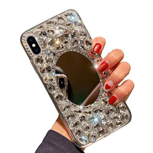 Glitter Miroir Coque pour Samsung Galaxy J4 2018, Obesky Luxe Bling Diamant Strass Ultra Mince Souple Silicone TPU + Dur PC Arrière Housse Etui de Protection pour Samsung Galaxy J4 2018, Argent