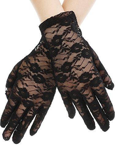 SATINIOR Women Elegant Short Lace Gloves Courtesy Summer Gloves for Wedding Dinner Parties (Black)