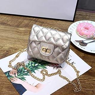 Adebie - Fashion Cute Small Plaid Chain Girl's Messenger Bag Mini Brand Designer Children Shoulder Crossbody Bag Soft PU Kid's Handbag Gold []