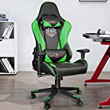 Ninecer Ergonomic Gaming Chair, High Back Office Chair Computer Chair with Headrest Lumbar Support, 400 lb Reclining Racing Chair, Video Gaming Chair with Adjustable Armrest(Green)