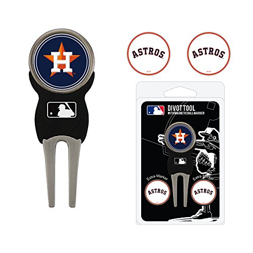 Team Golf MLB Houston Astros Divot Tool with 3 Golf Ball Markers Pack, Markers are Removable Magnetic Double-Sided Enamel