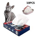 Pinase - Sacchetti per lettiera per gatti ispessiti con coulisse, 10 pezzi