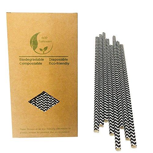 Cannucce di carta con motivo a zigzag bianco e nero, per ricorrenze, confezione da 100