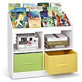 amzdeal Kids Bookshelf and Storage White 5 Tier Small Bookshelf Book Rack with 4 Toy Storage and 2 Bins, Solid and Stable Kids Bookcase for Books Toys in Playrooms Study Living Room Bedroom