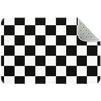 エリアラグ軽量 シームレスな黒と白のチェック柄 フロアマットソフトカーペットチホームリビングダイニングルームベッドルーム