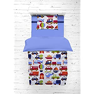 Bacati – Transportation Blue 4 Piece Boys Toddler Bedding Set 100 Percent Cotton Includes Reversible Comforter, Fitted Sheet, Top Sheet, and Pillow Case for Boys