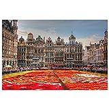 Lomoko Alfombra de Flores Grand Place Bruselas Bélgica Pintura en Lienzo Carteles artísticos Impresión en HD para Pared Sala de Estar Decoración para el hogar (23.62x31.50 in) 60x80 cm sin Marco