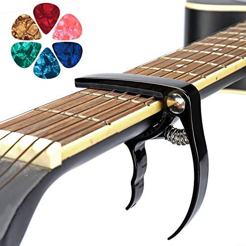 Cejilla Guitarra Uktunu Española Clásica Guitar Capo Electricas Acustica Folk Ukelele Bajo Instrumento Ligero Sola Mano Cambio Fácil y con 6 Púas de Guitarra