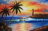 ダイアモンドビーズ絵画 刺繍キット サンディビーチココナッツツリー 5D ダイヤモンド絵画 プレゼント 壁のホーム装飾 クリスタル ラインストーン 手作り絵画手芸キット モザイクアート 塗装 全面貼り付けタイプ 50x40Cm
