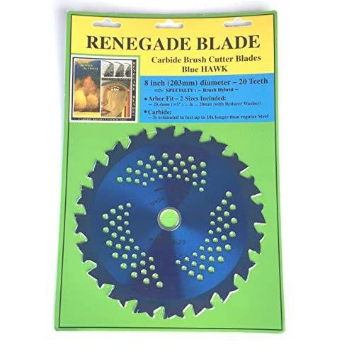 "Renegade Blade 1 Blade 8""-20t - Renegade Hawk/Hybrid - Brush Specialty GS1 Barcode Shelf Hanging Blister Pack - Carbide Brush Cutter Weed Eater Blades, 203mm Diameter"