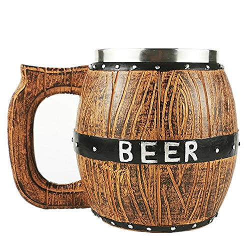 Madera Hecha a Mano Cerveza Acero Inoxidable Barril Mup, Accesorios Decoración Barra de Cocina Medieval Nórdica, 580Ml Madera Imitación Barril Marrón Viking Cup,Beer mug