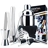 18oz Stainless Steel Cocktail Shaker Bar Set Tools with Martini Mixer Double Measuring...