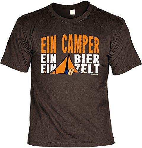 Camping Sprüche T-Shirt - Bekleidung Camper : EIN Camper EIN Bier EIN Zelt - lustige Campingplatz Ausrüstung Gr: XL