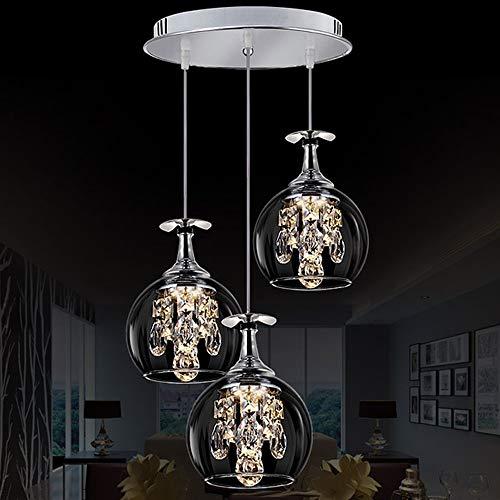 LED hanglamp, modern kristal hanglamp, eenvoudige multi-head wijnglas licht kroonluchter voor woonkamer slaapkamer eetkamer decoratie verlichting 5W