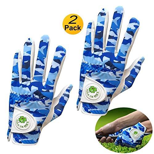Golfhandschuhe für Herren, mit Ballmarker, weiches Leder, blau, Camouflage, linke und rechte Hand, atmungsaktiv, Regengriff, auf der rechten Hand, Größe M, 2 Stück