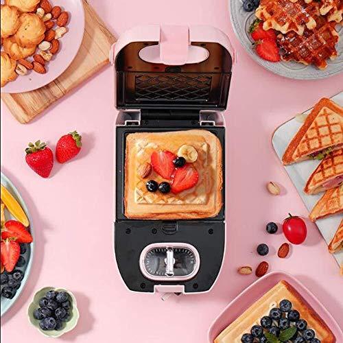 Sandwich Paninitoaster sandwichmachine, huisontbijt-machine/broodrooster licht levensmiddelen-machine multi-Purpose wafelmachine met 2 wafelbakplaat + sandwich bakplaat roze