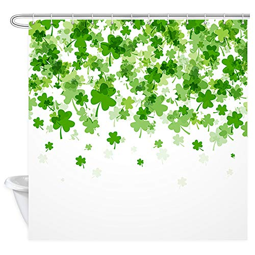 St Patrick's Day Shower Curtain, Green Irish St Patrick's Day Clover Shamrock Flying Leaves on White Shower Curtains, Fabric Abstract Celebration Celtic Picture Bathroom Curtain 12PCS Hooks, 69X70IN