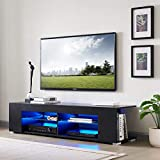 Generic Entertainment Center LED TV Stand for 65 inch TV, Black Modern Television Stands 57 INCH TV Console Table TV Stands for Living Room TV Stand with LED