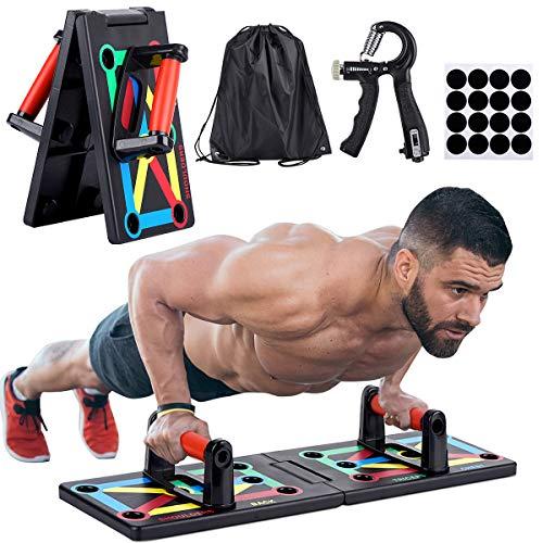 JoyCube Tabla de Flexiones Plegable 12 en 1 Push up Rack Board Sistema Portátil, con código de Colores, Multifuncional Músculo Entrenamiento de Fuerza del Brazo para Ejercicio en casa y Fitness