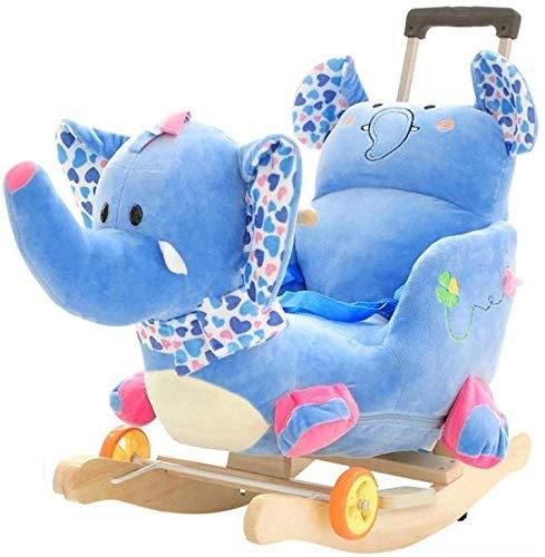 Xinjin Bébé cheval à bascule, animal à bascule en peluche, jouet à bascule pour bébé / chambre d'enfant, jouet à enfourcher pour fille et garçon de 1 à 3 ans, cheval à bascule éléphant 2 en 1 bleu