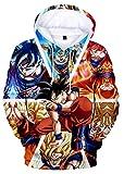 HAOSHENG Hombre Sudadera con Capucha Dragon Ball para Mujer Goku Cosplay Diseños de Cosplay Super Saiyan Pullover(L)