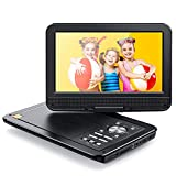 APEMAN Tragbarer DVD Player Auto 10,5'' mit Drehbarer Display Portable CD Player 5 Stunden Akku Unterstützt SD/USB/AV Out/IN Spiele Joystick (schwarz)