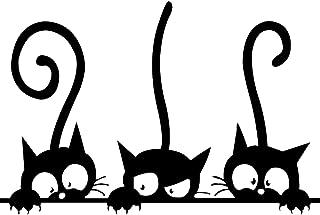 iTemer Pegatinas de pared decorativas Pegatinas de pared de vinilo decorativo para la decoración de la pared del dormitorio Elegante y hermoso Gato negro de dibujos animados 20 * 30cm 1 artículo