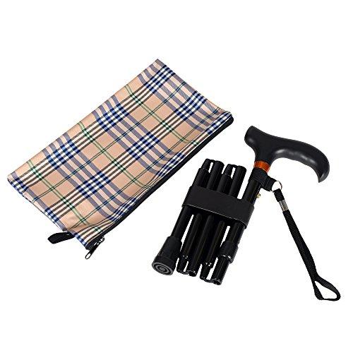 Mini Folding Cane  Travel Cane  Adjustable  Black