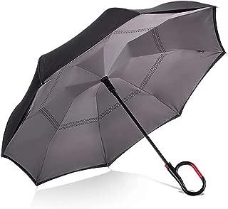 Hands-Free Reverse Folding Umbrella Car C-Type Umbrella Large Double-Layer Long Umbrella Umbrella HYBKY (Color : Gray)