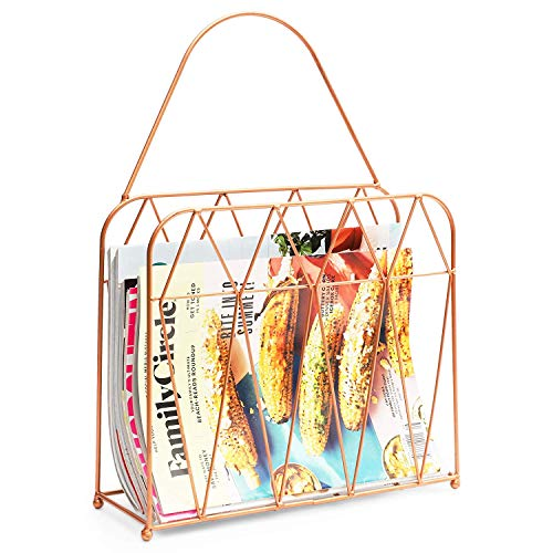 Juvale Hanging Magazine Rack (15.5 Inches, Rose Gold)