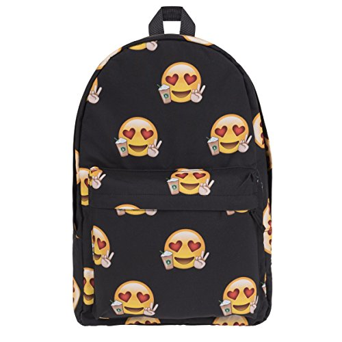 Retro tas schooltas canvas schoolrugzak Vintage Bag Backpack [005], Emoji Loves Coffee (meerkleurig) - PL-ECA-061