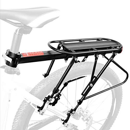 HENMI Mountainbike Gepäckträger,Rennrad Heckrahmen etc, Einstellbare Träger Fahrrad Gepäckträger,maximale Zuladung50 kg, Aluminiumlegierung, Schnellmontage,mit Reflektor