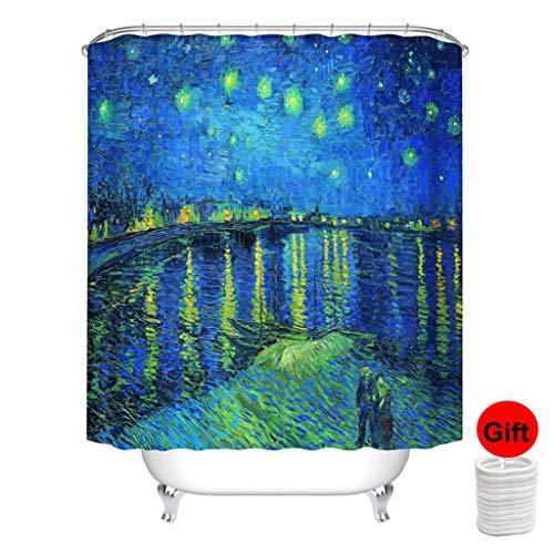 SPARROW Duschvorhang Van Gogh wasserdichte Anti Schimmel Duschvorhang wasserdichte Kunst (Color : Starry Night, Size : 180(W)*180(H) cm)