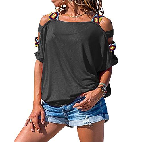 Camiseta con Hombros Descubiertos Y Manga Corta Hueca De Color SóLido para Mujer