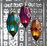(Orange & Red) - Moroccan style large hanging glass lantern (Orange & Red)