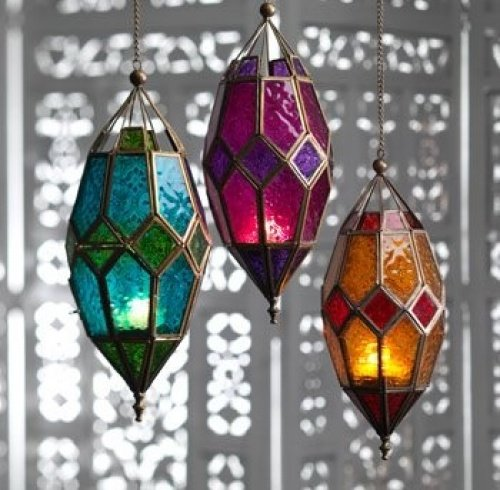 (Orange & Red) - Moroccan style large hanging glass lantern