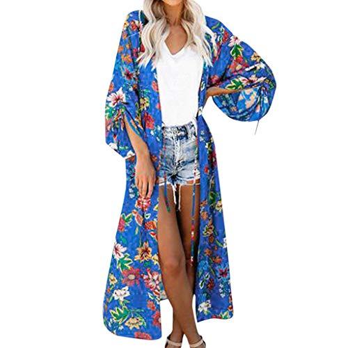 AIni Damen Festlich Elegant 2019 Neuer Blumen Langarm Chiffon Boho Kimono Lange Strickjacke Jacke Mantel Bluse Party Abend Warm Coat Jacke Mäntel(M,Blau)