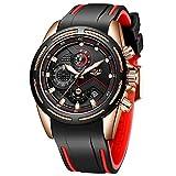 LIGE Men's Watch Fashion Elegant Waterproof Analog Quartz Watch Men Leisure Sport Black Gold Large Dial Watch
