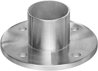 Stainless Steel Round Long Neck Floor Flange Base, Round Tube Post Anchor, Top Hand Rail Wall Mount for Cable Railing Deck, 316 Marine Grade (Intermediate Posts)
