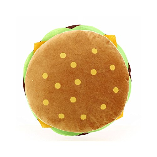 Demarkt Plush Pillow Cotton Fluffy Stuffed Simulation Hamburger Pillow Soft Burger Food Plush Toy Gift For Kids Halloween Decoration