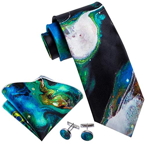 GPZFLGYN Cravatta da uomo stampata cravatte per uomo matrimonio affari festa verde fazzoletto gemelli cravatta cravatta set
