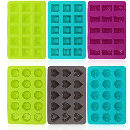 com-four® 6x Silikon-Form für Pralinen - Pralinenformen für je 15 Pralinen oder Eiswürfel - Schokoladenform [Farbe variiert] (06 Stück - eckig/rund/Herz)