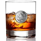 English Pewter Company 11oz Old Fashioned Whiskey Rocks Glass With Monogram Initial - Unique Gifts For Men - Personalized Gifts With Your Choice of Initial (S) MON119