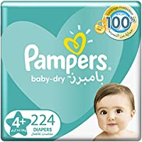 Pampers Baby-Dry Diapers, Size 4+, Maxi+, 9-16kg, Double Mega Box, (Pack of 2) 224 Count